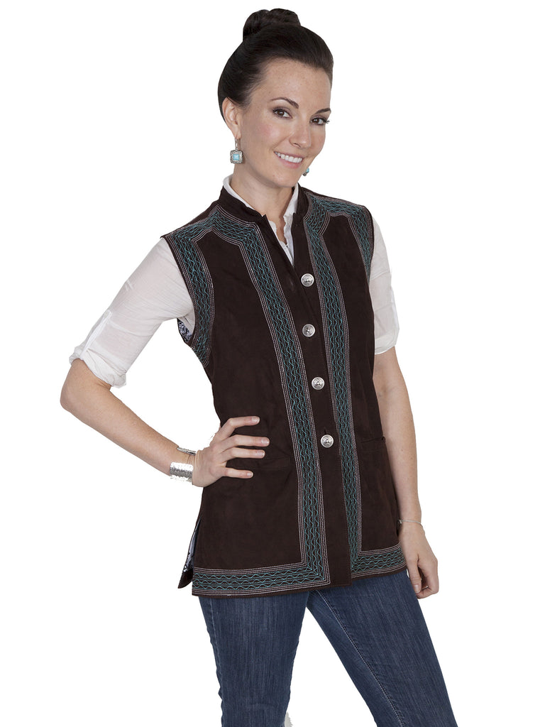Scully Womens Suede Vest with Embroidery Chocolate Front View