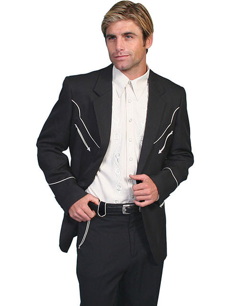 Scully Mens Western Blazer with White Piping on Front and Back