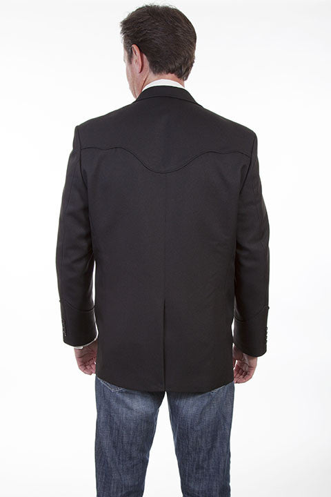 Scully Men's Western Blazer with Black Piping Back View