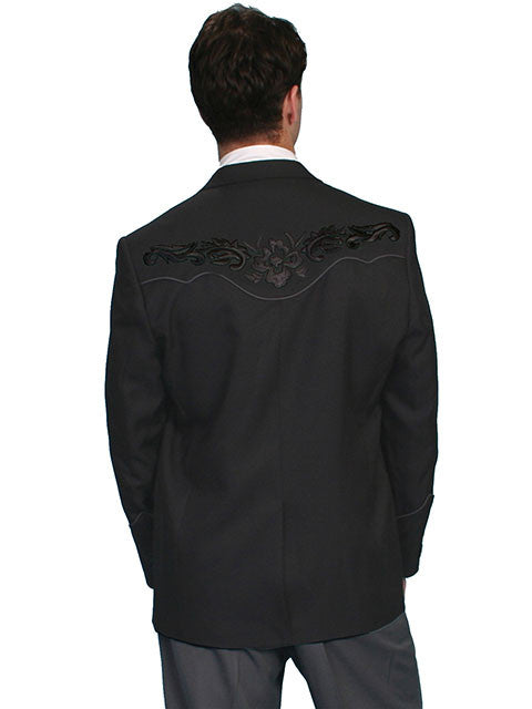 Scully Men's Western Blazer with Black Floral Embroidery on Black Back View