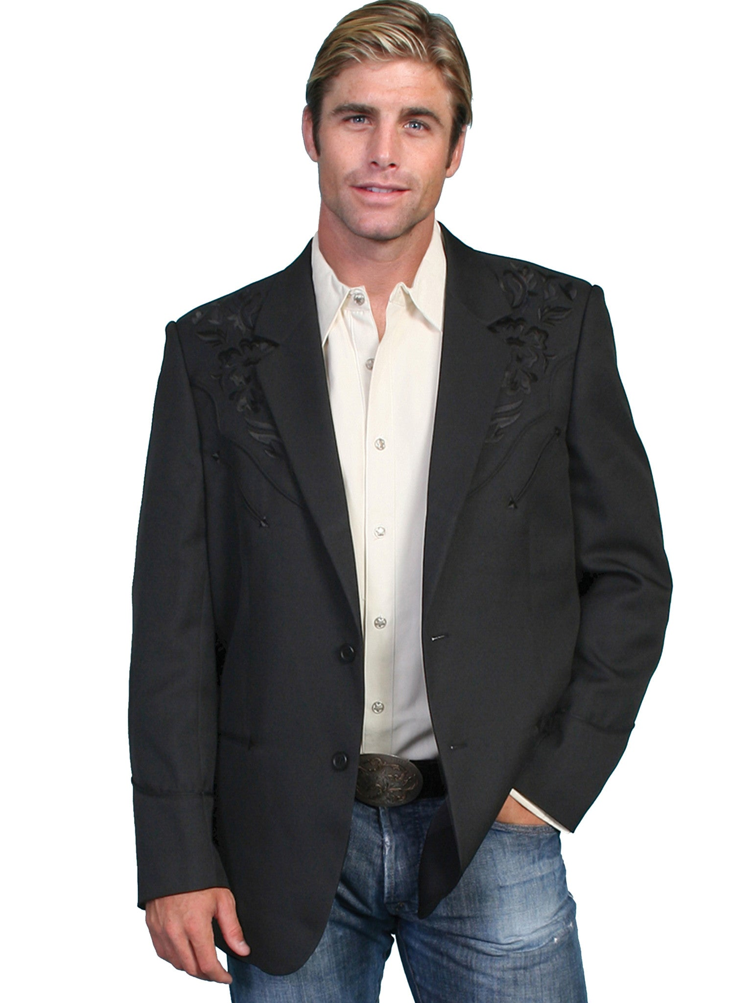 13102cfba3fe Scully Men's Western Blazer with Black Floral Embroidery on Black ...