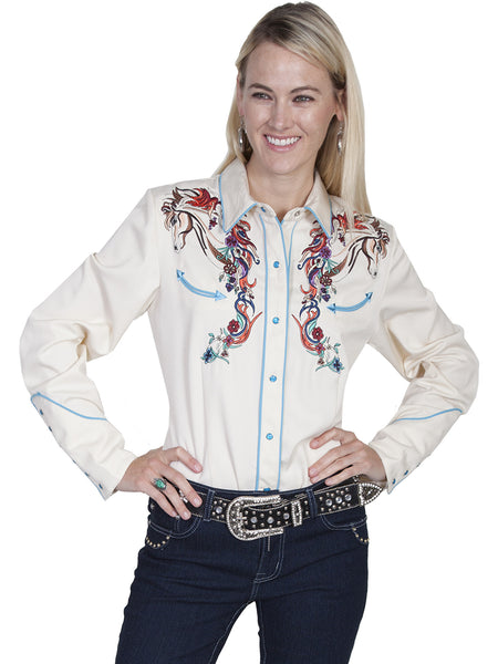 Vintage Inspired Western Shirt Ladies Scully Horse and Flowers on Cream Front View