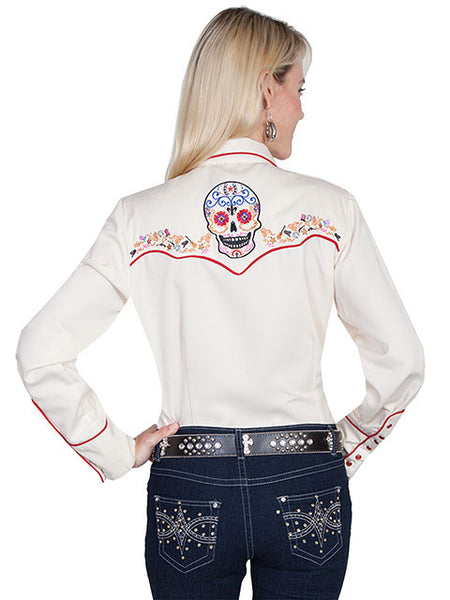Vintage Inspired Western Shirt Ladies Scully Sugar Skull Cream Front View