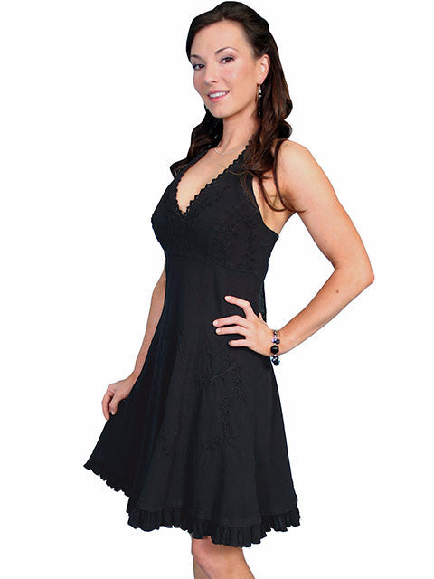 Scully Cantina Collection Halter Dress with Ruffle Hem, Black 3Q View