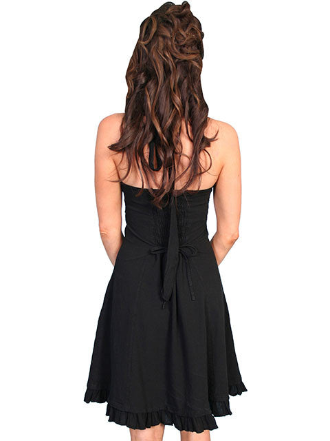 Scully Cantina Collection Halter Dress with Ruffle Hem, Black Back View