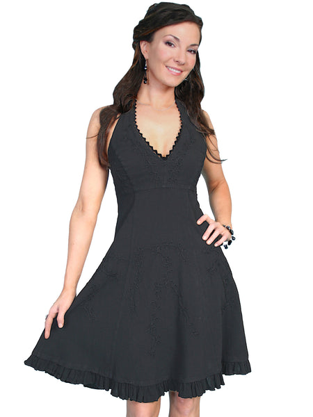 Scully Cantina Collection Halter Dress with Ruffle Hem, Black Front View