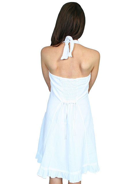 Scully Cantina Collection Halter Dress with Ruffle Hem, White Back View