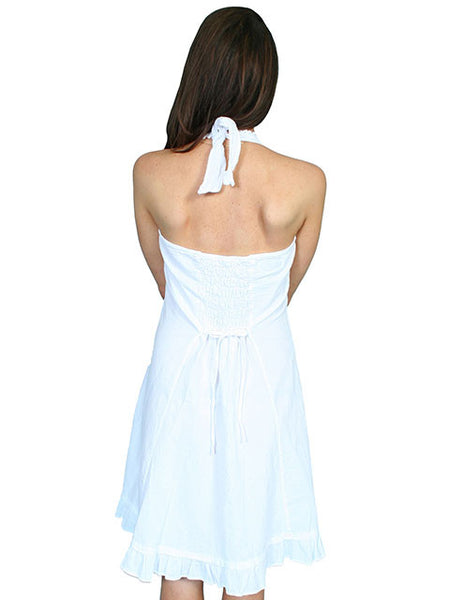 Scully Cantina Collection Halter Dress with Ruffle Hem, White Front View