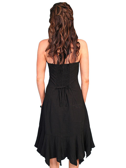 Scully Womens Cantina Collection Halter Dress, Ruffles, Black. Back View