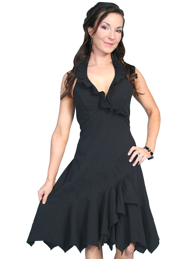 Scully Womens Cantina Collection Halter Dress, Ruffles, Black. Front View