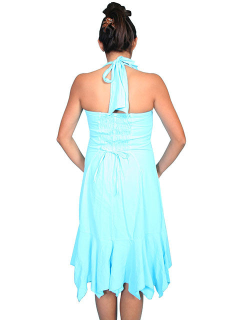 Scully Scully Womens Cantina Collection Halter Dress, Turquoise, Back View