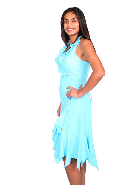 Scully Scully Womens Cantina Collection Halter Dress, Ruffles, Turquoise. Side View