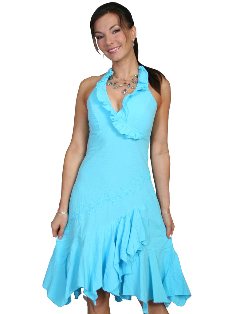 Scully Womens Cantina Collection Halter Dress, Ruffles, Turquoise. Front View
