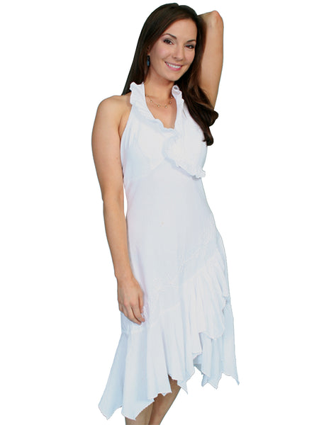 Scully Womens Cantina Collection Halter Dress, Ruffles, White. Front View