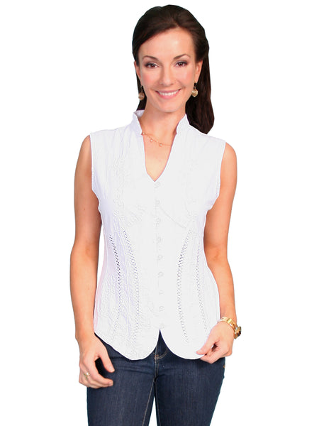 Cantina Collection White Cotton Button Front Sleeveless Top Front
