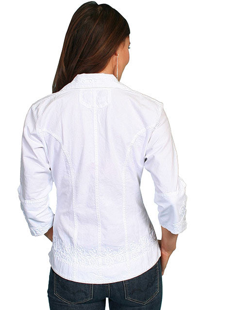 Scully Cantina Collection Womens Cotton Blouse with 3/4 Sleeves White Back View