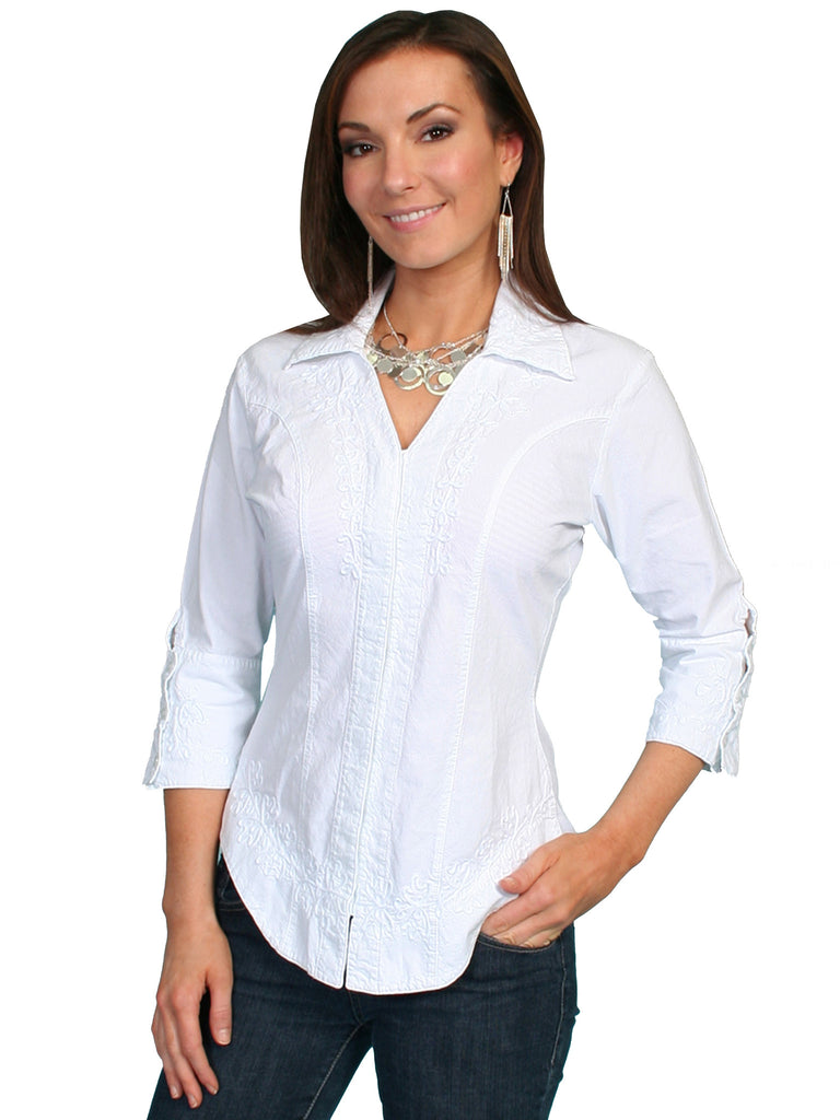 Scully Cantina Collection Womens Cotton Blouse with 3/4 Sleeves White Front View