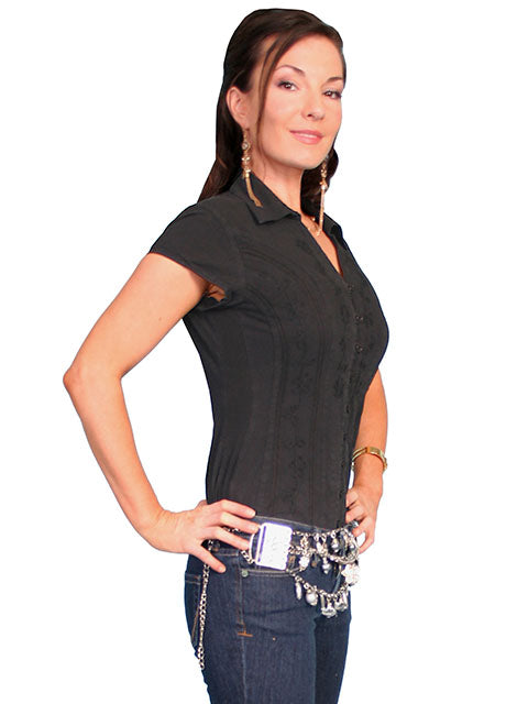 Scully Cantina Collection Womens Cap Sleeve Cotton Top with Soutache Trim Black Side View
