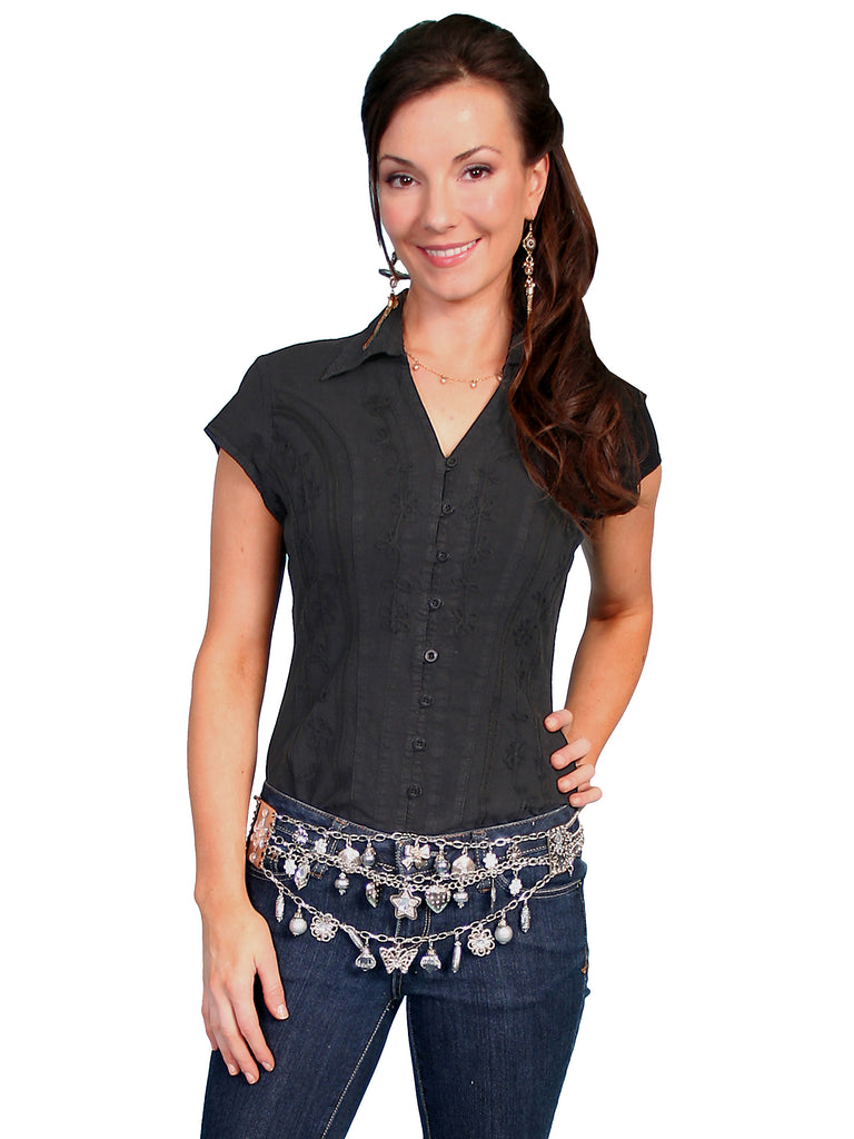 Scully Cantina Collection Womens Cap Sleeve Cotton Top with Soutache Trim Black Front View