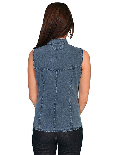 c2ea0a78c7e8 ... Scully Cantina Collection Womens Cap Sleeve Cotton Top with Soutache  Trim Dark Blue Back View