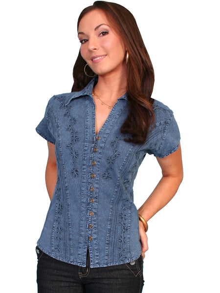 Scully Cantina Collection Womens Cap Sleeve Cotton Top with Soutache Trim Dark Blue Front View