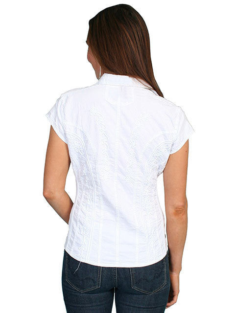 Scully Cantina Collection Womens Cap Sleeve Cotton Top with Soutache Trim White Back View