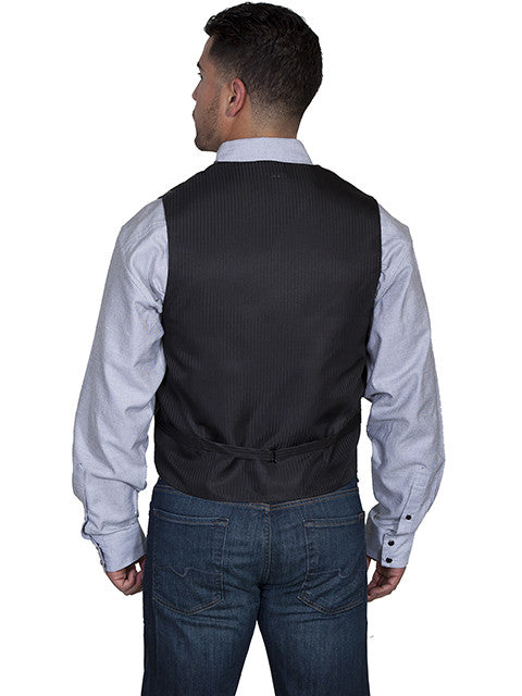 Scully Mens Rangewear Old West Vest Pinstripe No Lapels Back