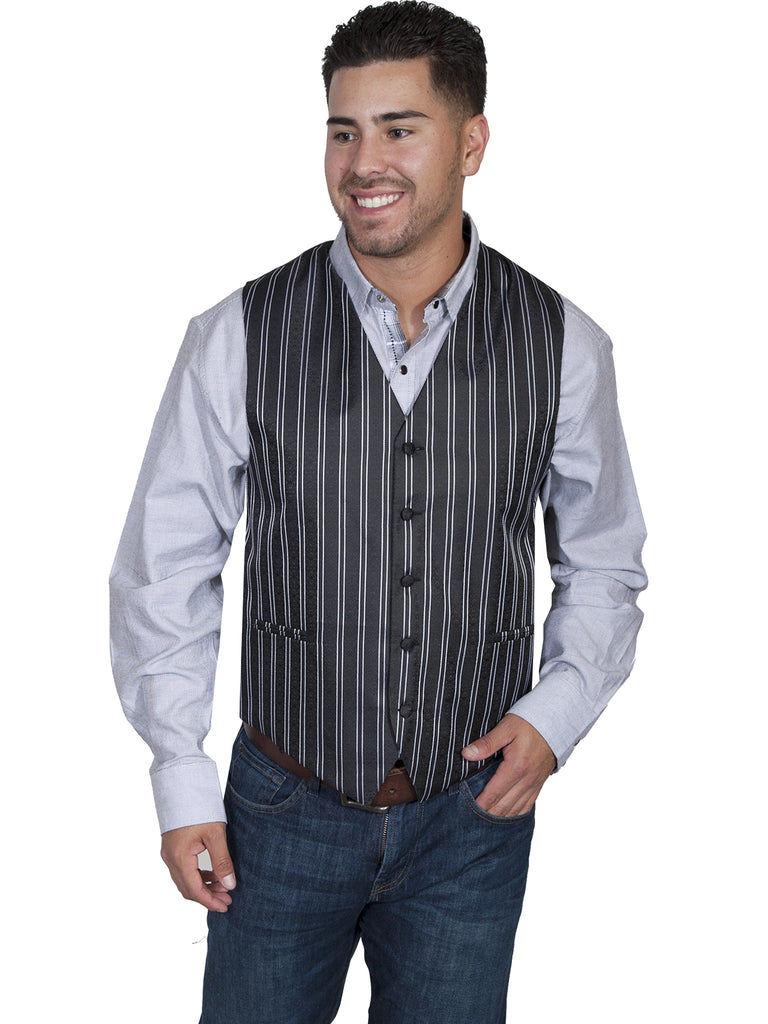 Scully Mens Rangewear Old West Vest Pinstripe No Lapels Front