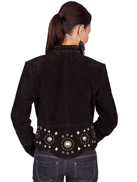 Scully Women's Suede Jacket with Gold Concho and Stud Accents Black Front View