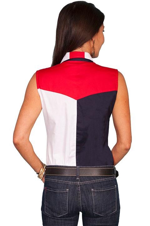 Vintage Inspired Western Scully Patriotric Womens Shirt Back View