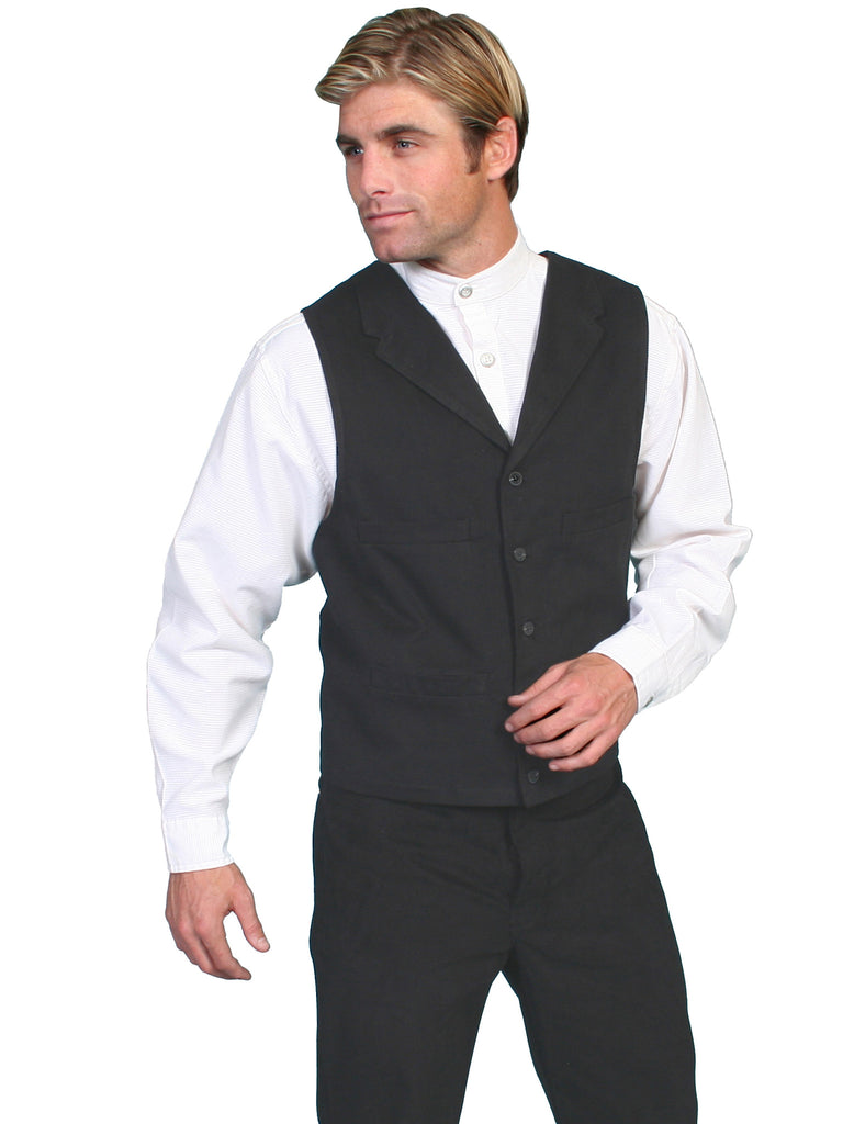 Scully Mens Wahmaker Old West Vest Brushed Cotton Black