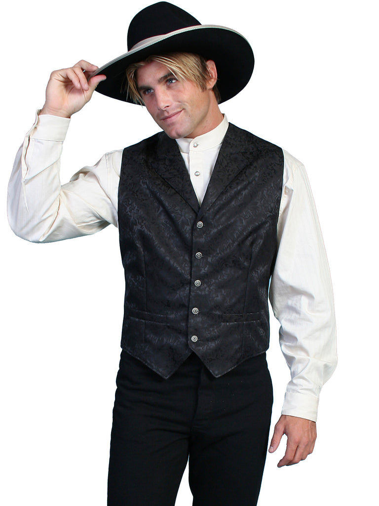 Scully Old West Mens Wahmaker Single Breasted Vest Jacquard Black