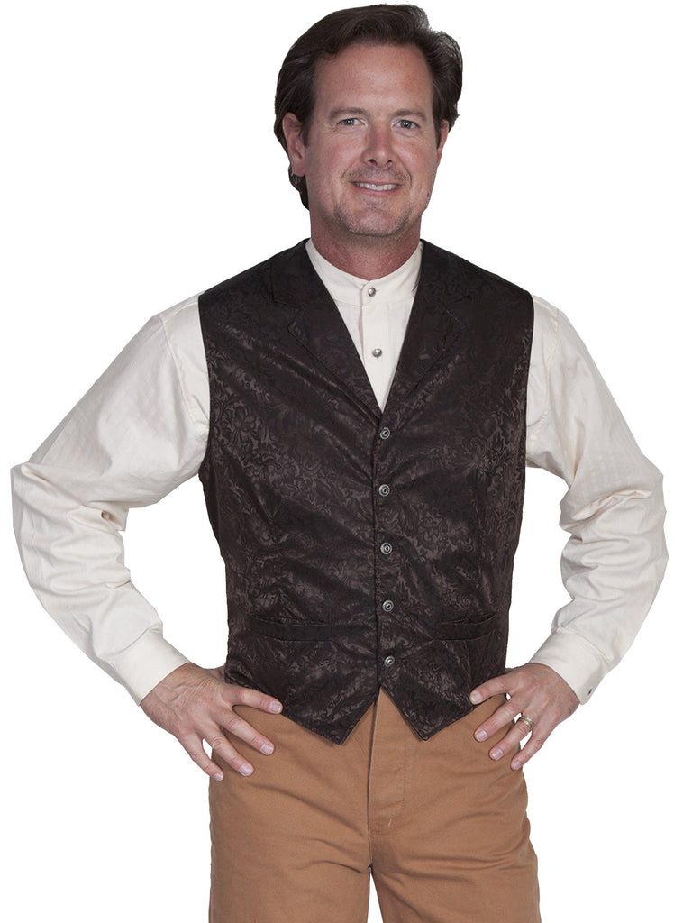 Scully Old West Mens Wahmaker Single Breasted Vest Jacquard Chocolate