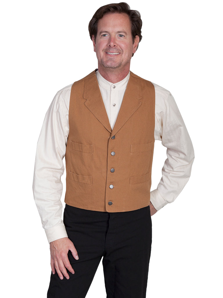 Scully Co. Wahmaker Men's Old West Vest: Cotton Duckin' Brown Front View