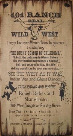 Western Wall Sign Vintage: 101 Ranch Real Wild West