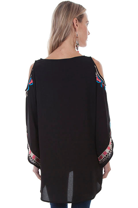 Honey Creek Collection Blouse: Folklike Embroidered Top with Peek A Boo Shoulders Black Back