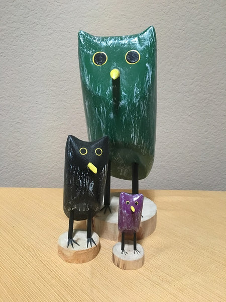 Edith John Hand Carved Parliament of Owls with Mary Etta Morse