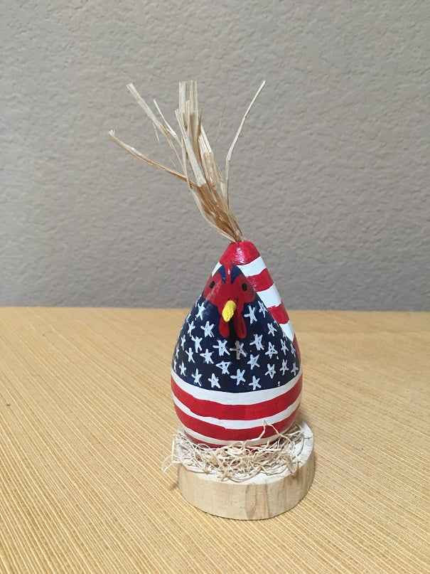Edith John Hand Carved Small Nesting Chicken Patriotic Front