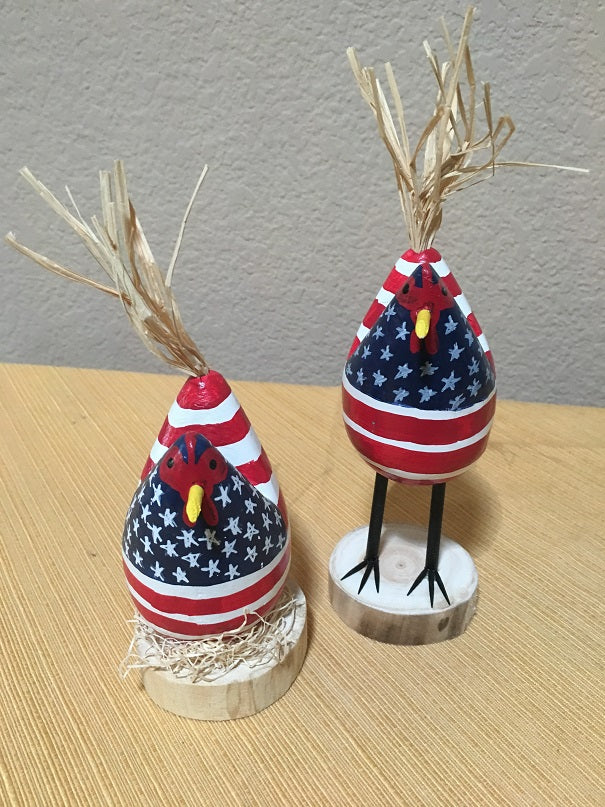 Edith John Hand Carved Small Chickens Patriotic