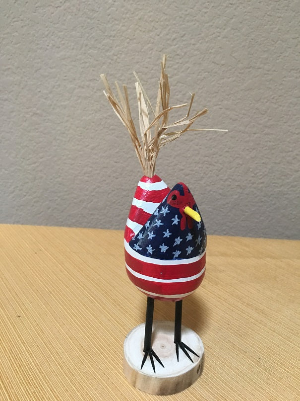 Edith John Hand Carved Small Standing Chicken Patriotic Front