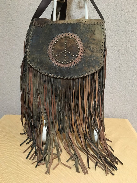 PEACE Fringe Shoulder Handbag Front