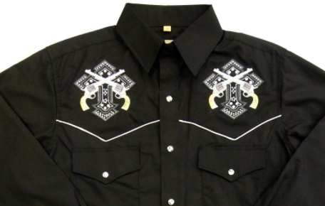 White Horse Apparel Men's Embroidered Western Shirt with Crosses and Pistols Front