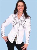 Vintage Inspired Western Shirt Ladies Scully Black Roses Front XS-2XL