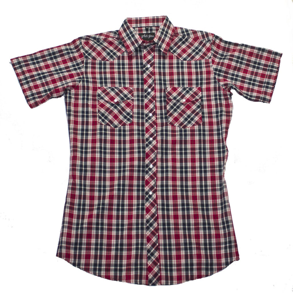 White Horse Apparel Men's Western Short Sleeve Shirt Red/Black Plaid
