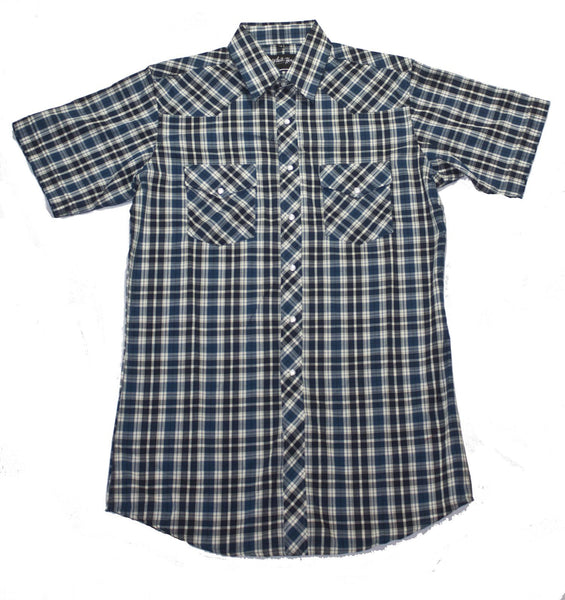 White Horse Apparel Men's Western Short Sleeve Shirt Blue/Black Plaid