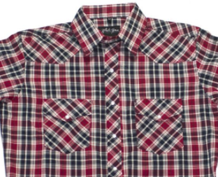 White Horse Apparel Men's Western Plaid Short Sleeve Red Black