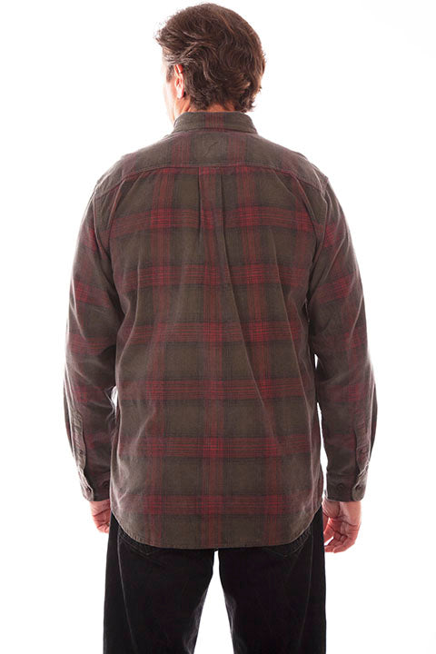 Men's Farthest Point Corduory Plaid Green Back #5263