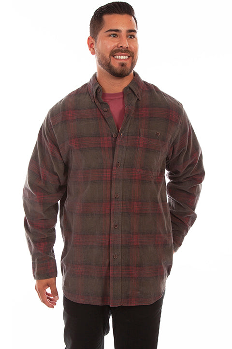 Men's Farthest Point Corduory Plaid Green Front #5263