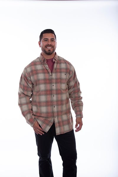 Men's Farthest Point Corduory Plaid Red Front #5263