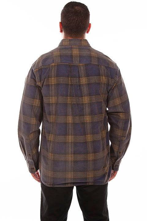 Farthest Point Collection Corduroy Plaid Navy Yellow Back